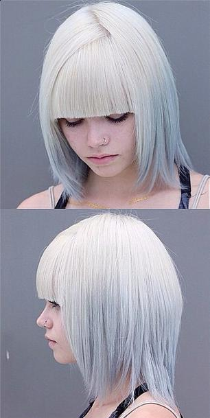 white to silver ombre hair color modern bob hairstyle