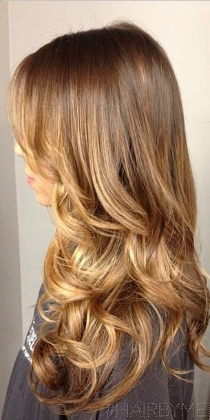 warm brunette with caramel highlights