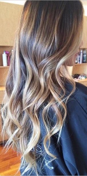 Brunette With Caramel Blonde Highlights Mane Interest