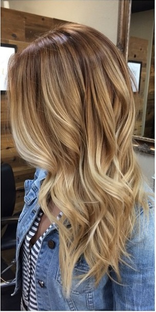 hair envy here – a gorgeous blend of light wood and honey blonde ...