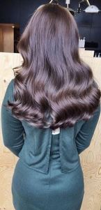 shiny brunette hair color