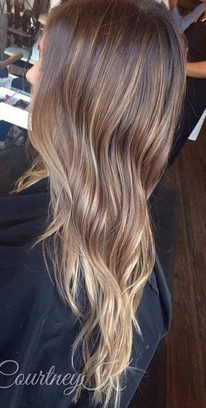 hair color idea - modern brunette to bronde ombre