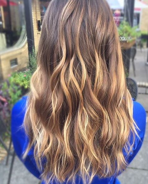 brunette with hits of honey highlights