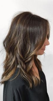 want this hair - brunette highlights with long shoulder length cut and style
