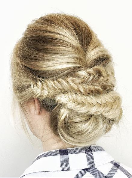 braids with low bun updo