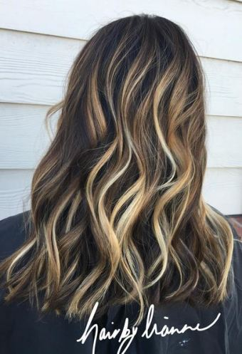 very dimensional caramel brunette highlights