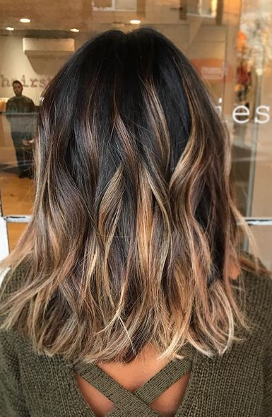 caramel-and-toffee-highlights-on-brunette-hair-color